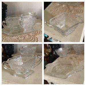 Vintage Pressed Glass Creamer & Sugar Tray Set